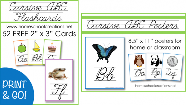 Free Cursive ABC Flashcards and Posters Printables