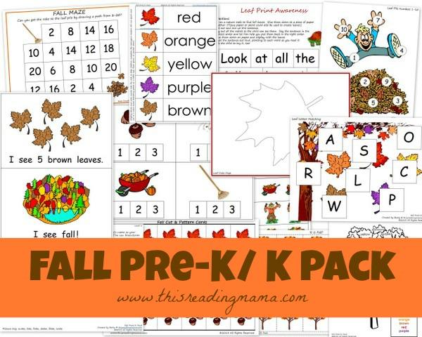 Free Fall Pre-K/Kindergarten Pack