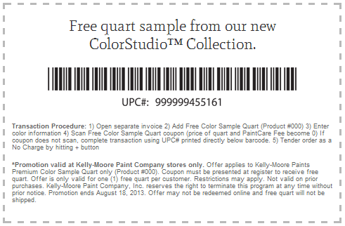 Kelly-Moore Paint Company: Free quart of ColorStudio Collection paint