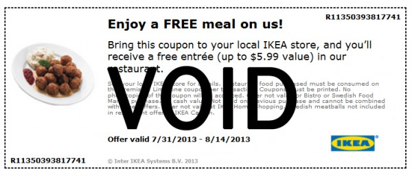 IKEA: Sign up to receive the 2014 catalog and get a free entree meal