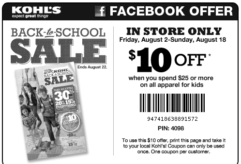 Kohl's coupon: $10 off $25 Kid's Apparel | Money Saving Mom®