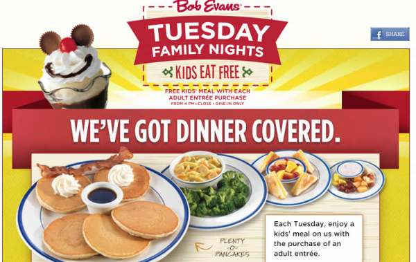 graphic relating to Bob Evans Printable Menu referred to as Bob Evans: Children Consume Absolutely free with grownup obtain (Tuesday