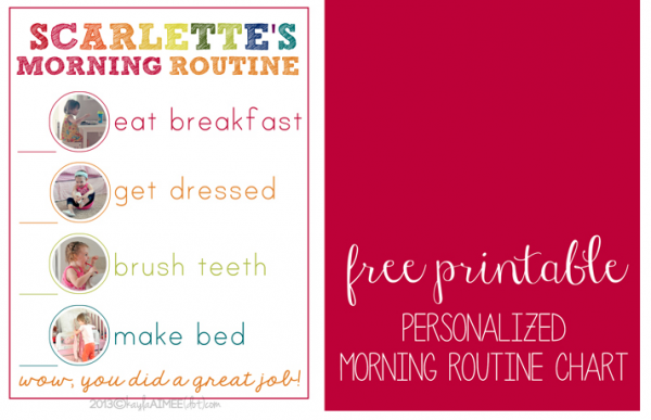 image relating to Morning Routine Checklist Printable named Free of charge printable Custom made Early morning Timetable Chart for Youthful