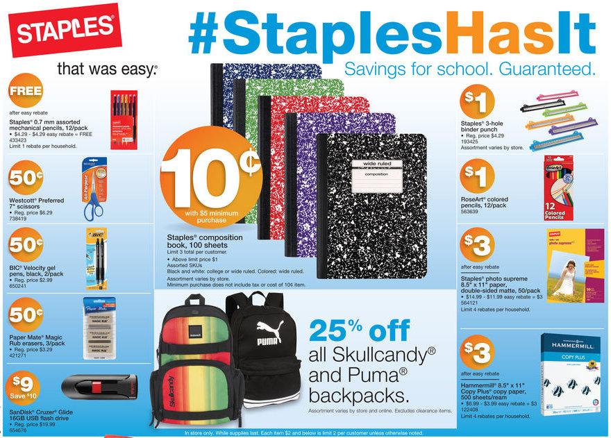 Staples: Back to School Deals for the week of August 18-24, 2013