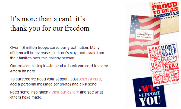 Shutterfly: Send a free thank you card to the troops