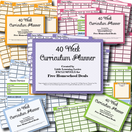 Free Printable 40 Week Homeschool Curriculum Planner