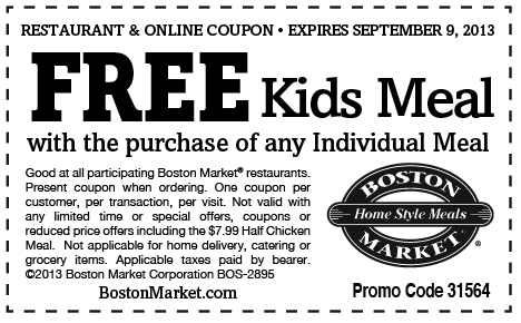 Boston Market: Kids Eat Free with Individual Meal Purchase (through September 9, 2013)