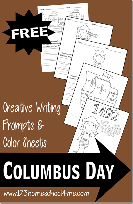 Free Columbus Day Coloring Sheets & Writing Prompts