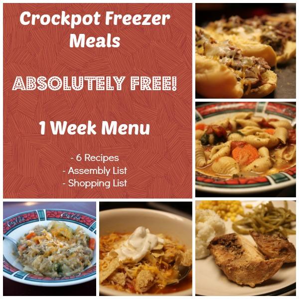 Printable Crockpot Freezer Meals Weekly Menu e-Cookbook