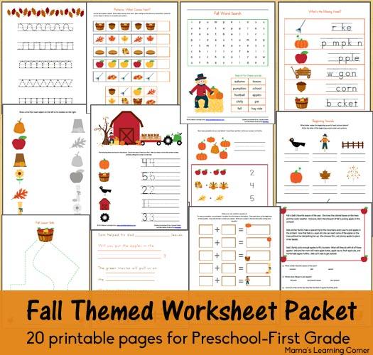 fall worksheet printable pack for preschoolers money saving mom. Black Bedroom Furniture Sets. Home Design Ideas