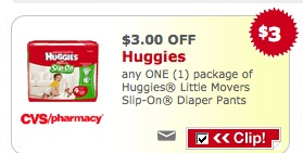 CVS: Get Huggies Diapers for $2.49 per package (starts next week)
