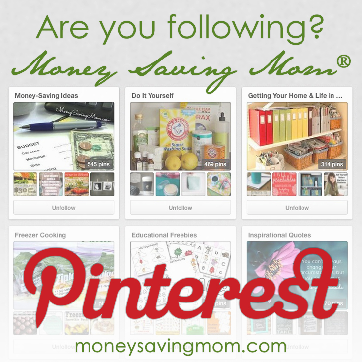 Follow Money Saving Mom on Pinterest