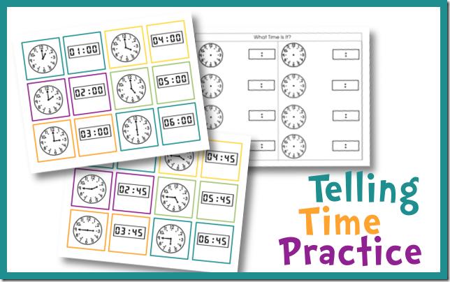 Telling Time Practice Cards - Money Saving Mom® : Money