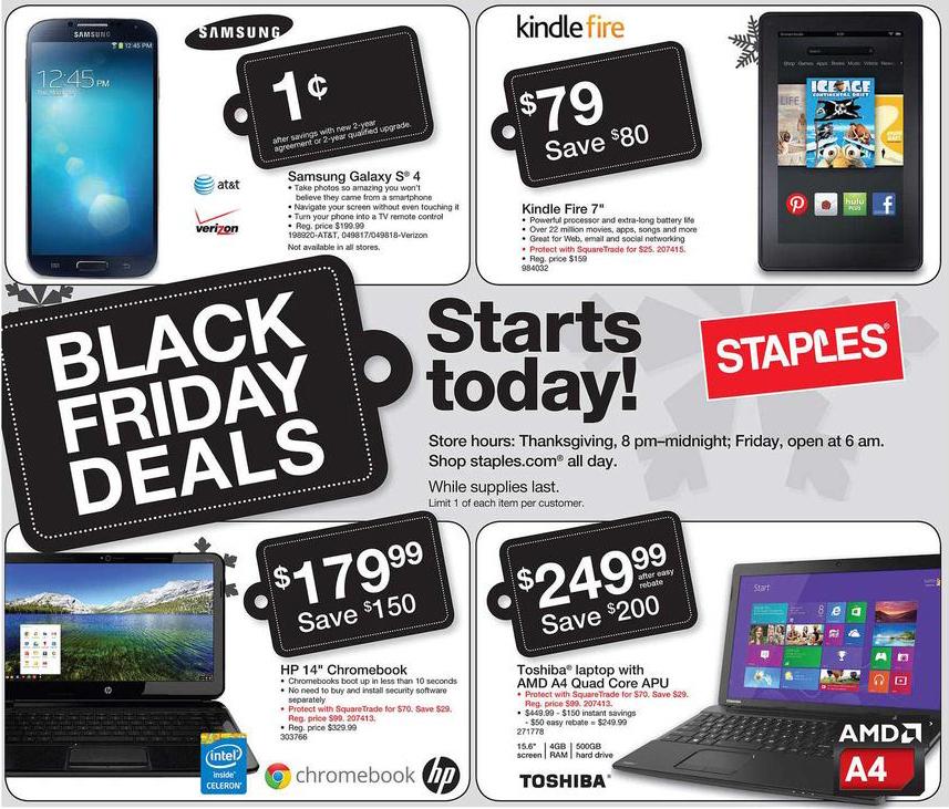 Staples Black Friday Ad 2013
