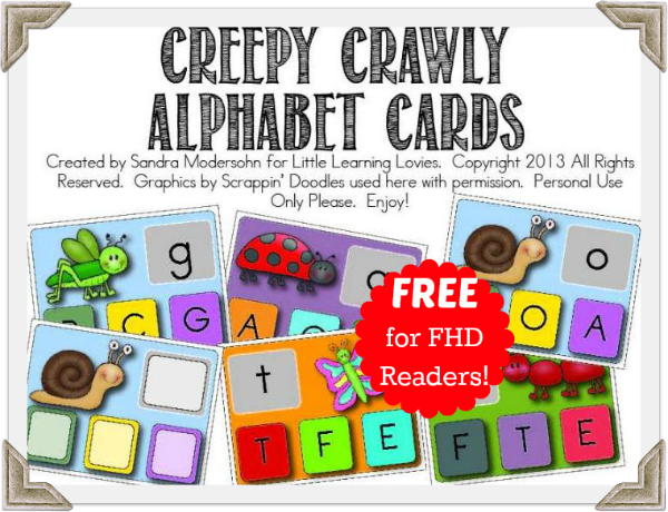 Creepy Crawly Alphabet Clip Cards