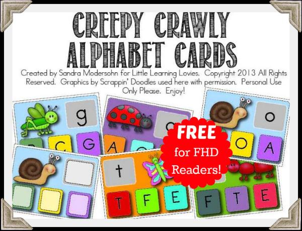 Creepy Crawly Alphabet Clip Cards