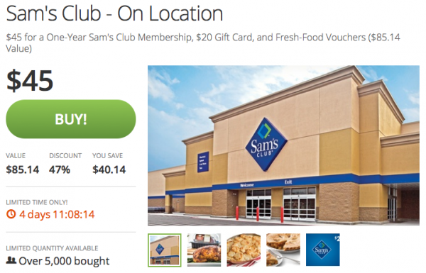 Sam's Club Membership Groupon voucher
