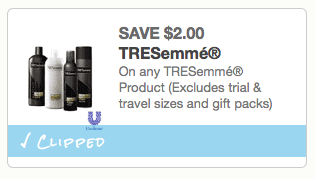 graphic regarding Tresemme Printable Coupons identified as $2/1 Tresemme printable coupon \u003d $0.48 shampoo/conditioner
