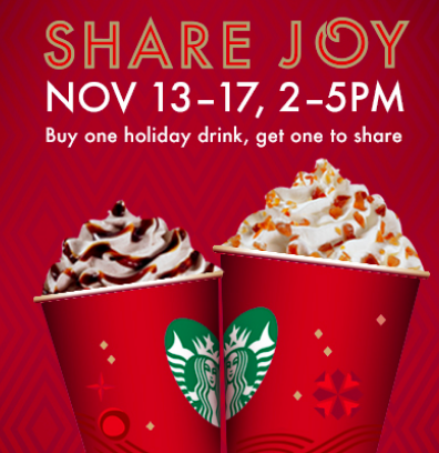 Starbucks: Buy One, Get One Free Holiday Drinks