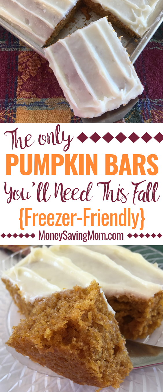 These delicious pumpkin bars are perfect for fall! And they're freezer-friendly!