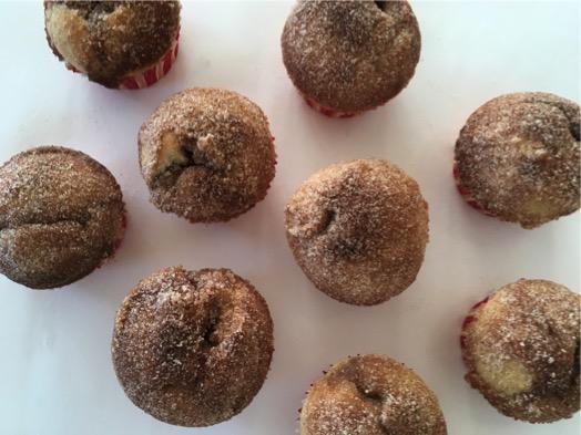 Tops of CInnamon Doughnut Muffins