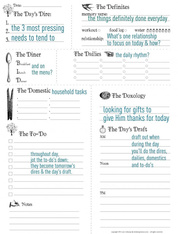 Ann Voskamp Has A Free Daily Planner Available For Download.  Free Daily Planner Download