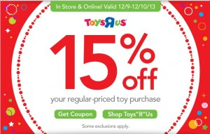 "d31316f9864 There s a new Toys ""R"" Us coupon available to print or use online good for  15% off your regular-priced toy purchase. If shopping online"