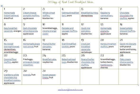 31 Days Of Real Food Breakfast Ideas Money Saving Mom Money