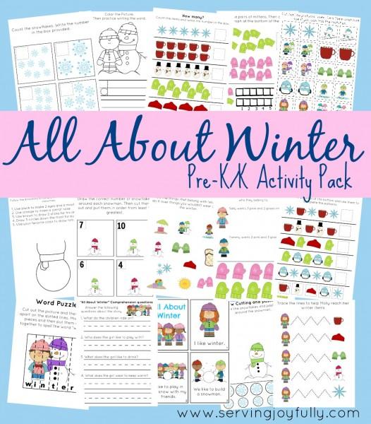 Fun Pre K Worksheets : All about winter pre k printable fun pack money saving