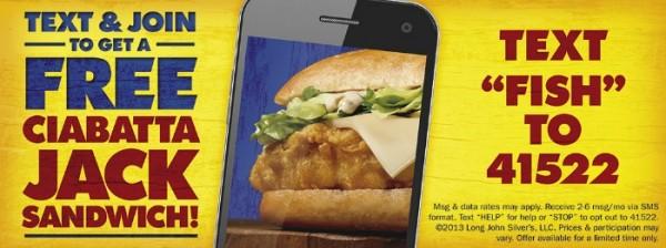 Free Sandwich at Long John Silver's