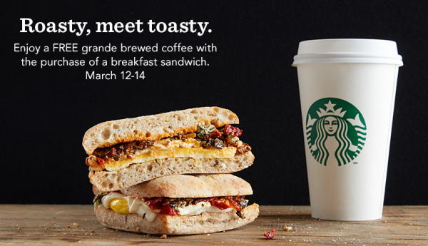Free Grande Coffee with Breakfast Sandwich Purchase