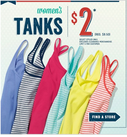 fd9303e5572c1 Old Navy   2 Women s Tank Top Sale (in-store Saturday only) - Money ...