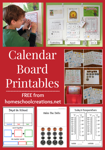 Calendar Board Printables from Homeschool Creations Freebie: Calendar Board Printables