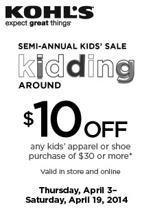 graphic regarding Kohls Coupons Printable called Kohls Coupon: $10 Off $30 Little ones Garments - Monetary Preserving Mother