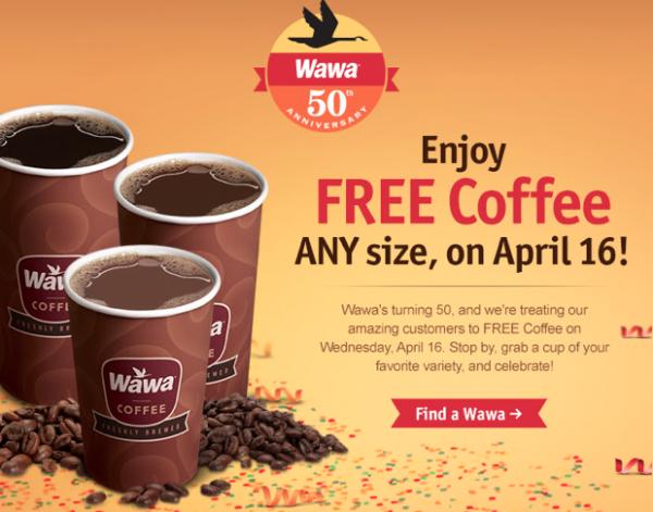 Free coffee at Wawa