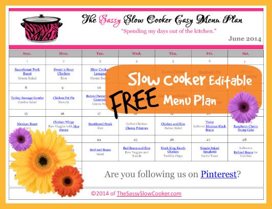 FREE Slow Cooker Menu Plan