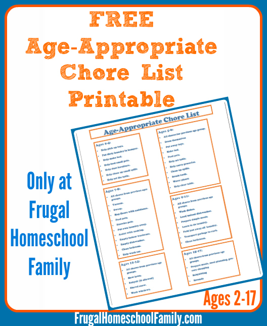 Download a free Age Appropriate Chore List printable with ideas for ...