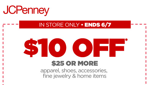 JCPenney coupon $10 off $25 purchase Money Saving Mom
