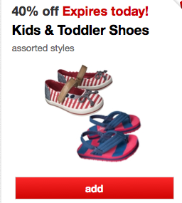 Target 40% off Shoes