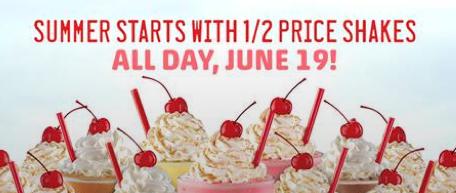 Sonic Half-Priced Shakes on June 19