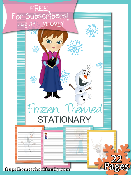 free printable frozen-themed stationery