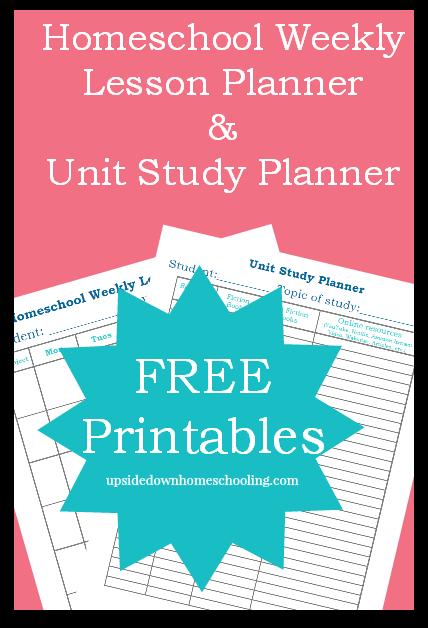Free Printable Homeschool Weekly Lesson Planner Unit Study Planner