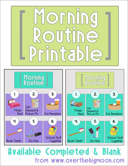 Free Morning Routine Printables for Kids - Money Saving Mom®