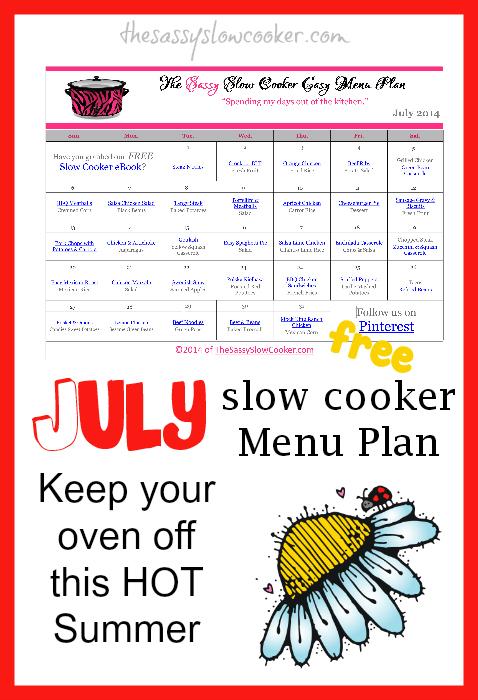 FREE July Slow Cooker Menu Plan