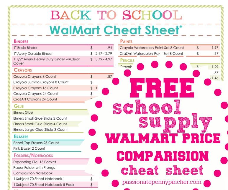 Free Back To School Walmart Price Comparison Sheet