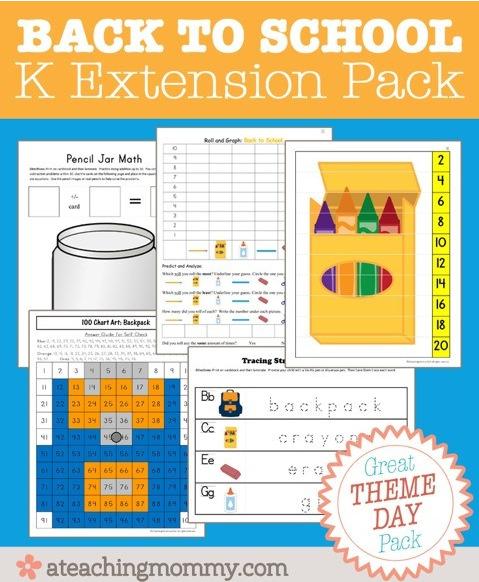 Free printable Kindergarten Extension Printable Pack