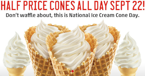 Half Price Ice Cream Cones at Sonic