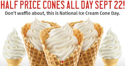 Half Price Ice Cream Cones at Sonic