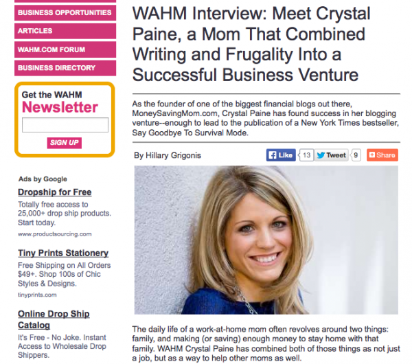 My interview with WAHM.com