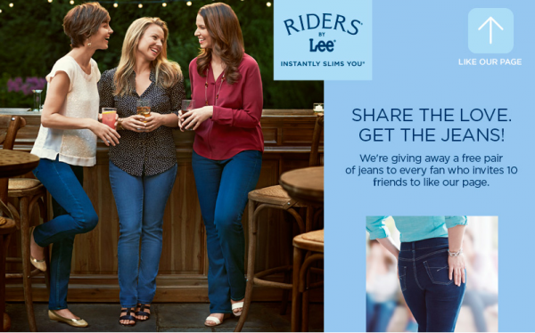 Get a FREE pair of Riders by Lee jeans